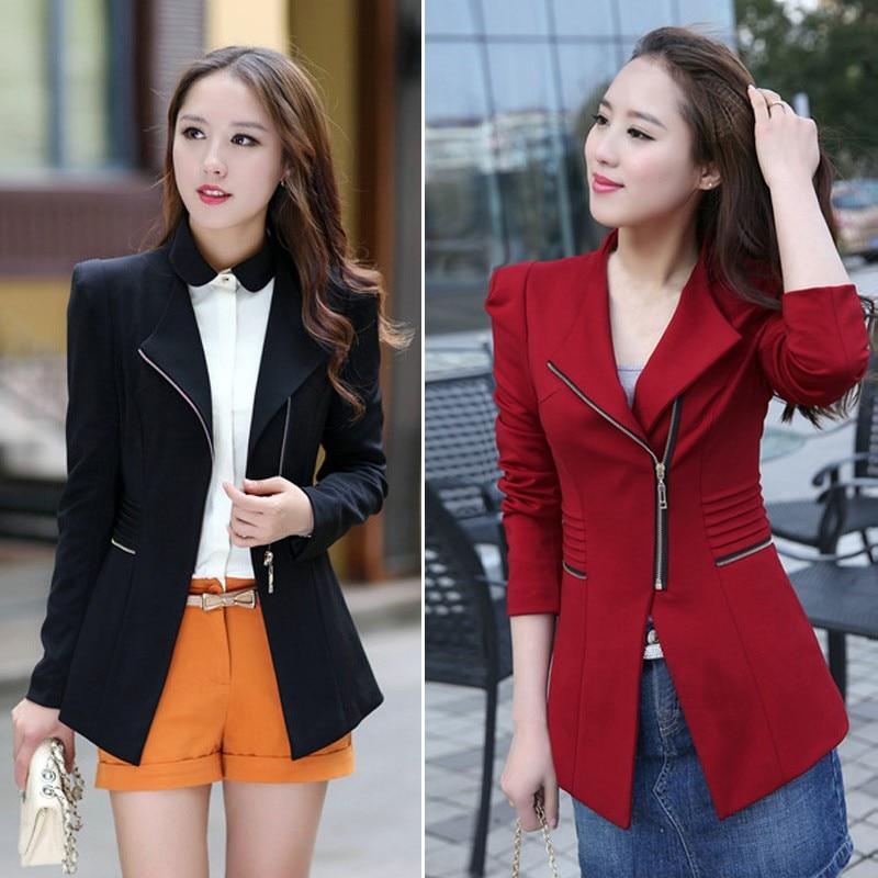 Womens Autumn Slim  Suit Overcoat Casual Metal Zip Skinny Jackets Long Sleeve Blazer