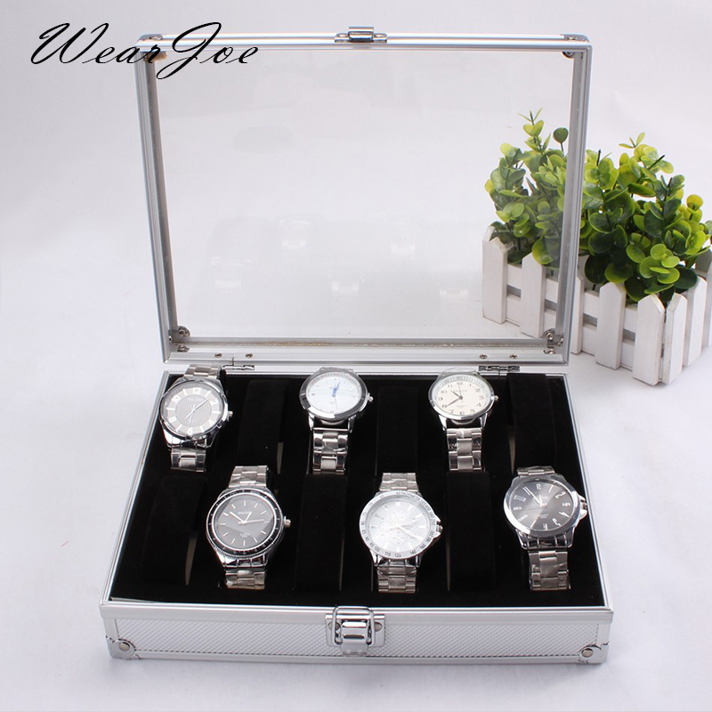 Luxury Substantial Aluminium Square Wrist Watch Storage Packaging Box Glass Lid Show Case 12 Flexible Slots Watch Display Casket