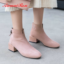 ANMAIRON Womens Winter Fashion 2019 Kid Suede Boots Square Heel Round Toe Ankle Short Plush Women Shoes Size 34-39