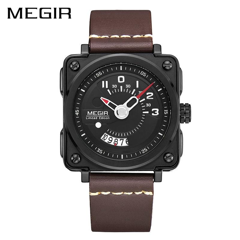 MEGIR Sport Men Watch Leather Strap Square Relogio Masculino Clock Men Quartz Military Watches Reloj Hombre with Watch Box megir relogio reloj hombre megir 2008 09