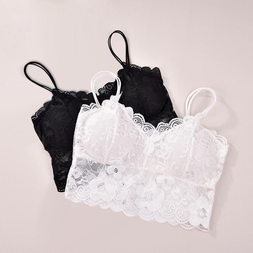 Women <font><b>Sexy</b></font> Bra Straps Lace Breathable Chest Pad Sports Underwear Non-adjusted Straps <font><b>Brassiere</b></font> femme <font><b>dentelle</b></font> Summer A9 image