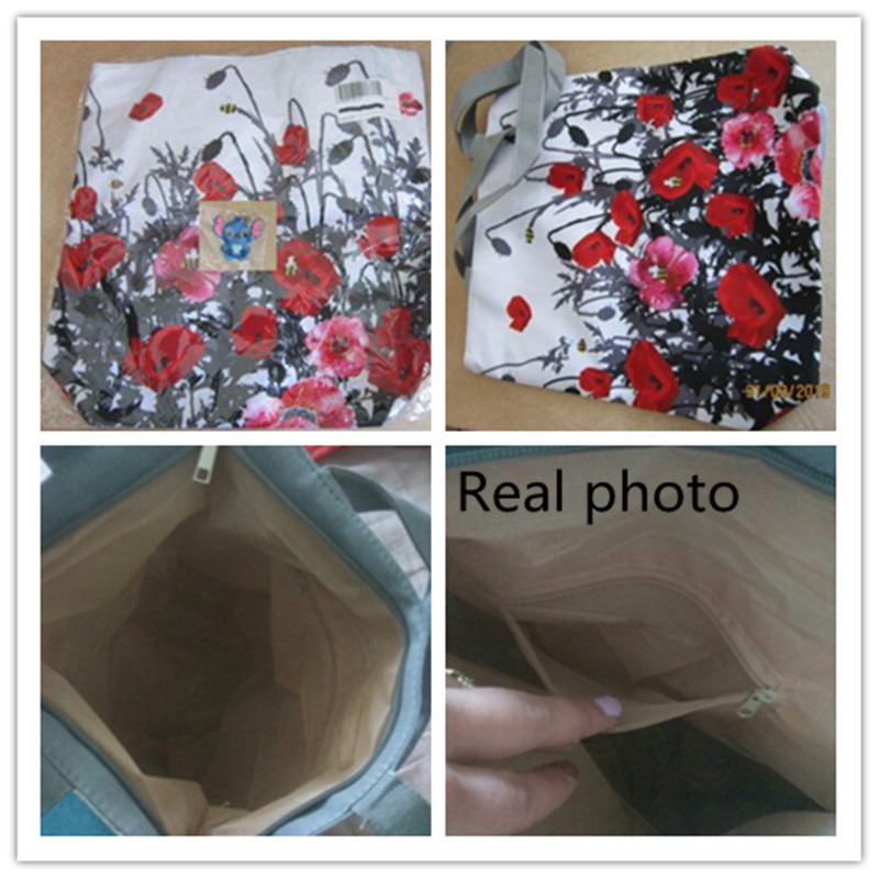New Spring Women Canvas Tote Vintage Flowers Print Beach Bags For Female Grape Design Shopping Handbags Girls Floral Zipper Bag 4