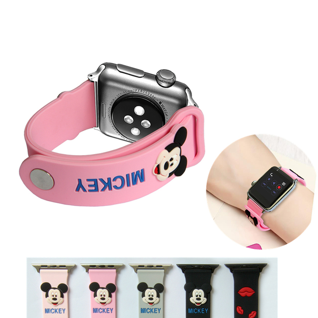 420e3c5a4 YUKIRIN Lovely Mickey Mouse Silicone Sport Band For Apple Watch Series 4 3 2  1 Wrist