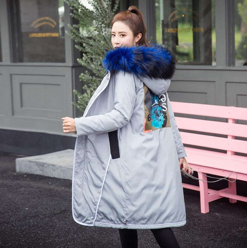 2017 new Winter Women Down Cotton Overcoat Thick Warm Fur collar Hooded Coat Elegant Slim Jacket Female s1325 цены онлайн