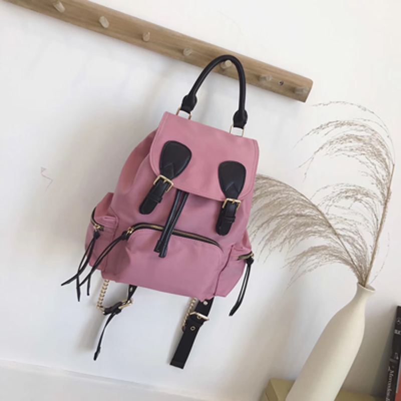 Korean college nylon backpack The new solid color fashion simple backpack Wild women bag the bantam new college spanish