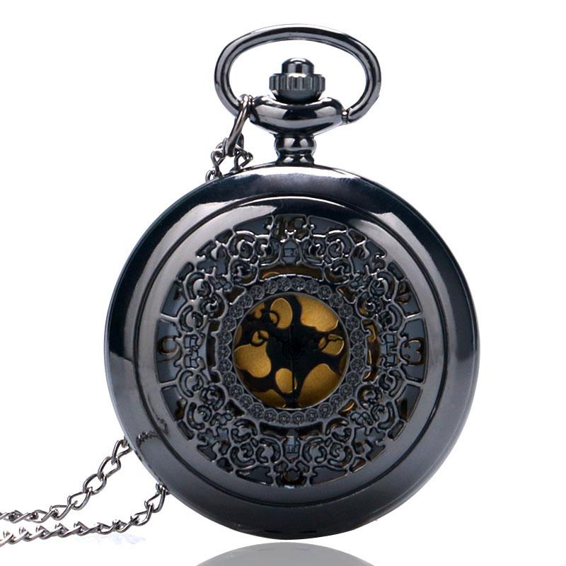 Black Vintage Quartz Fob Pocket Watch Half Hunter Steampunk Antique Men Women Retro Clock Gifts With Necklace Chain