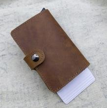 Véritable cuir Antivol mini portefeuille en aluminium protecteur de la carte rfid portefeuille