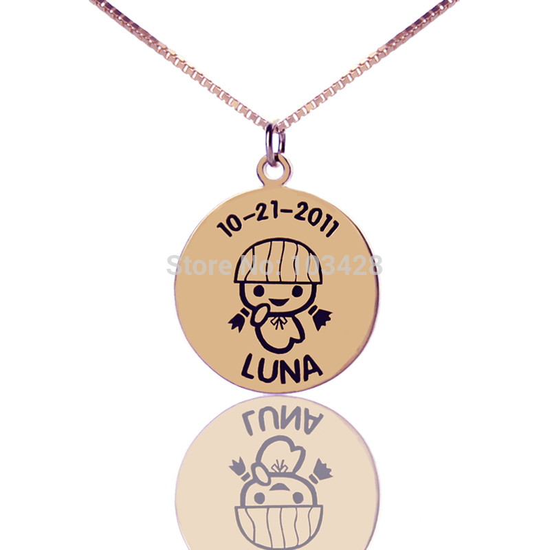 Personalized Little Girls Name Bar Necklace Rose Gold -5988