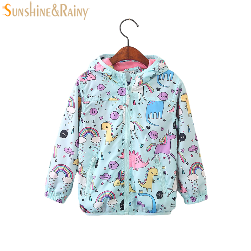 Cartoon Unicorn Hooded Windbreaker For Girls Jackets Coats Spring Autumn Kids Jacket Outerwear Children Clothes