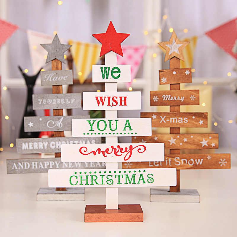 Новые деревянные елочные украшения для ресторана отеля торговые центры настольные Топы реквизит Рождественские Мини Деревянные елки елочные украшения