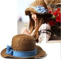 Mujeres del Estilo CALIENTE freeshipping adultos niñas dom moda sombrero de verano playa con jean azul naturaleza de la flor sombrero de paja