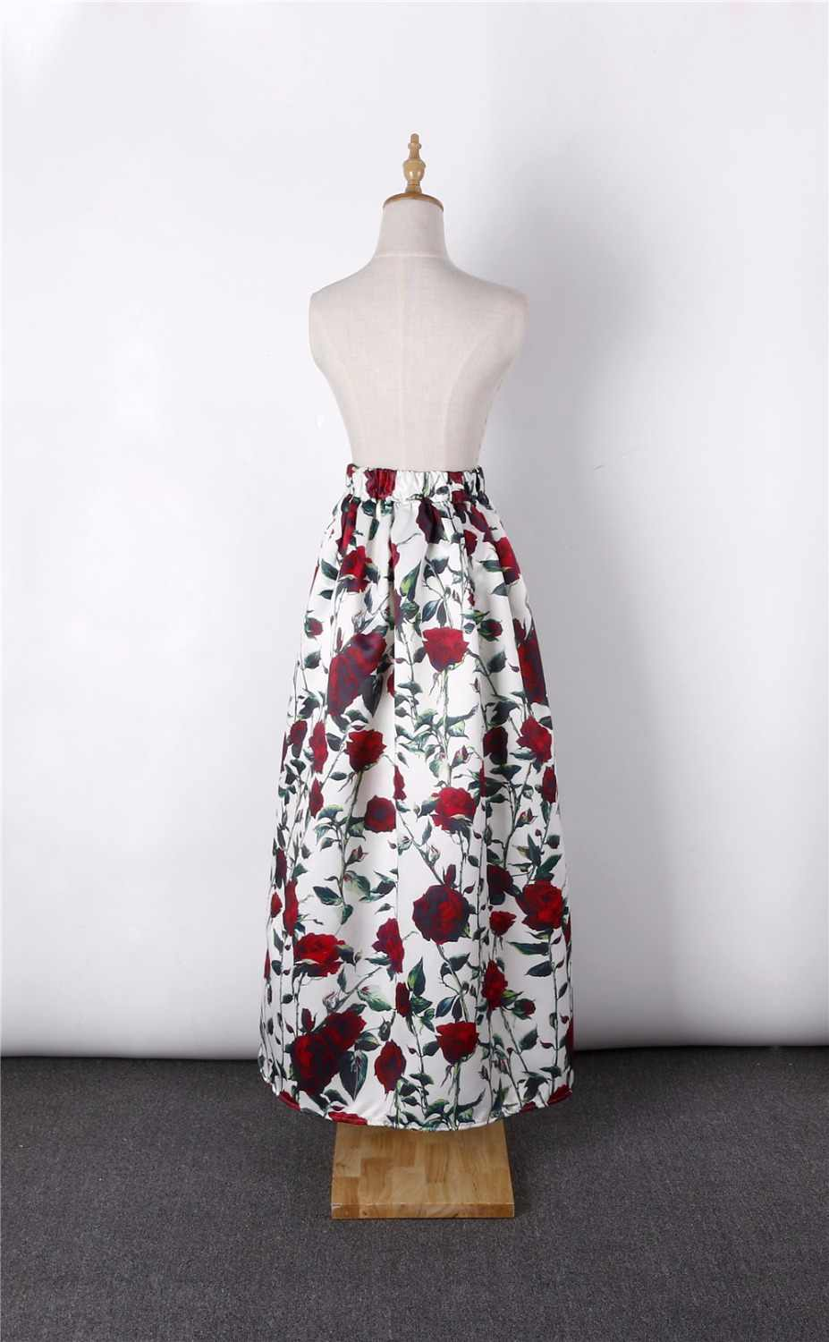 607d301ec ... NEW Long Skirt Womens 100cm Floor-Length Flared Fashion Satin Vintage Floral  Print High Waist ...