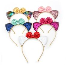 10pcs Glitter Sequin Bowknots Cat Ear Girl Hairband Hair Hoop for Party Kids Bands Birthday Headdress Gifts