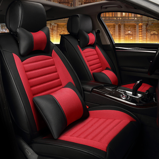 luxe styling lederen auto bekleding zomer koele ijs zijde automobiles stoelhoezen 13 stks auto interieur