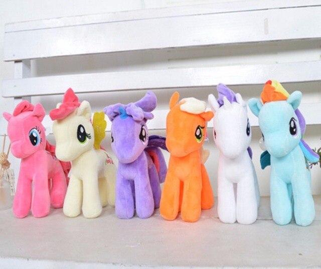 6pcsset 23cm Cartoon Plush Twilight Sparkle Rainbow Dash Applejack