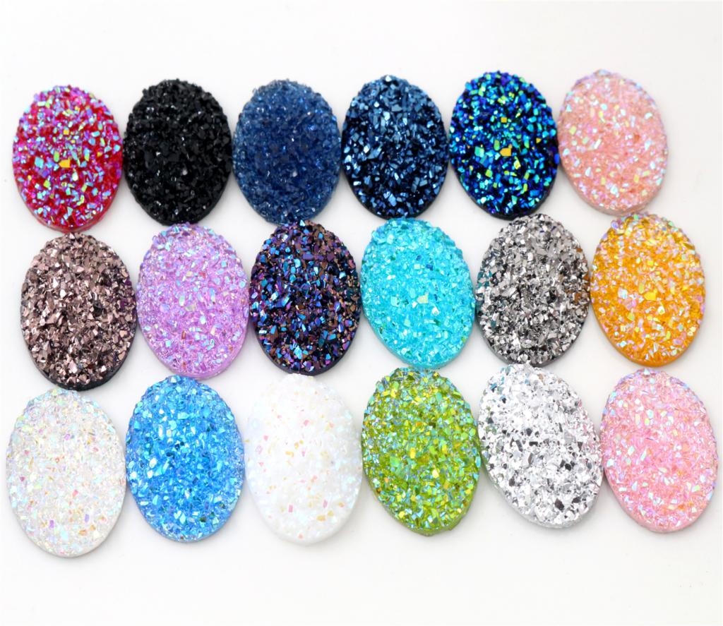 New Fashion 10pcs 18x25mm Mixed Colors Natural Ore Style Flat Back Resin Cabochons For Bracelet Earrings Accessories