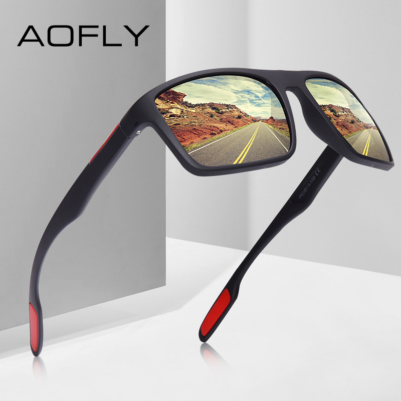 AOFLY DESIGN Ultralight TR90 Polarized Sunglasses Men Driver Shades Male Vintage Sun Glasses For Men Spuare Eyewear Gafas De Sol mannequin