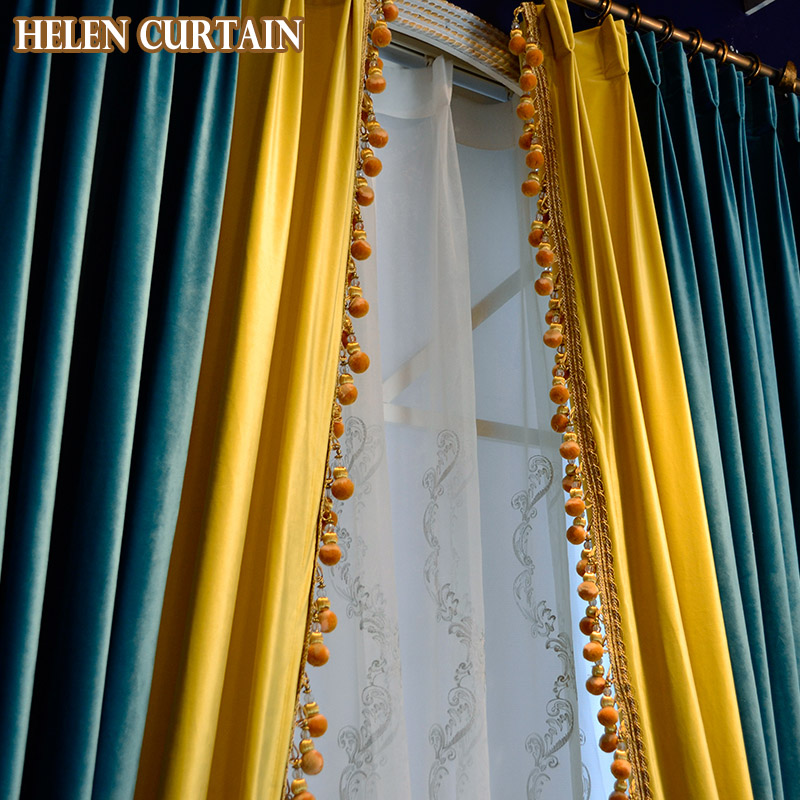 Helen Curtain Luxury Italian Velvet Splice Yellow Green European Style Curtains For Living Room White Tulle Window Valance V 96 In From Home