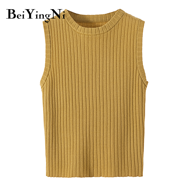 Beiyingni Knitted Tank Top Female 8Colors Slim Casual Sexy 2019 New Fashion Sleeveless Basic Camis Women Black Vintage Camisole in Camis from Women 39 s Clothing