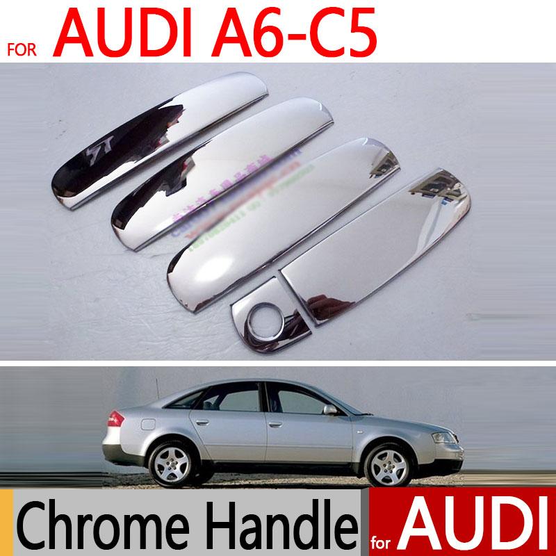 все цены на for Audi A6 C5 Accessories Chrome Door Handle Stainless Steel 1997 1998 1999 2000 2001 2002 2003 2004 Sticker Car Styling онлайн