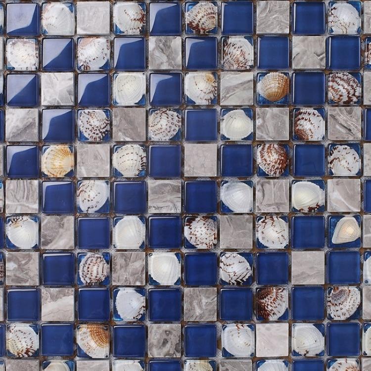 lowest price blue glass mixed sea shell mosaic tiles crystal mosaic kitchen backsplash bathroom tiles mesh