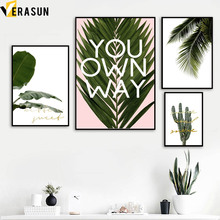 VERASUN Roze Bladeren Cactus Wall Art Print Canvas Schilderij Poster En Print Nordic Poster Muur Foto Voor Woonkamer Decoratie