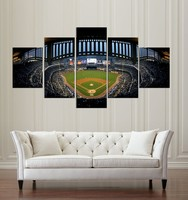 New York Baseball Stadium Canvas Painting Wall Art 5 Pieces Prints Home Decor Picture Panels Poster