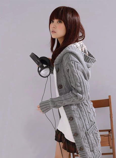 Free shipping Long Sleeve Cardigan Sweater with cap ladies cardigan long coat Black White Gray