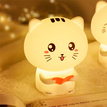 Cute Cat Lights Organic Silicone 3d Night Light USB Rechargeable Bedside Lamp Baby Recordable light letters beauty