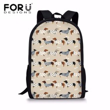 FORUDESIGNS Preppy School Bags for Teenager Girls Doxie Dog Printing School Shoulder Backpack Children Large Book Bag Satchel dispalang cute dog computer backpack for teenager animal 3d print laptop school bags for children tourism shoulder book bag