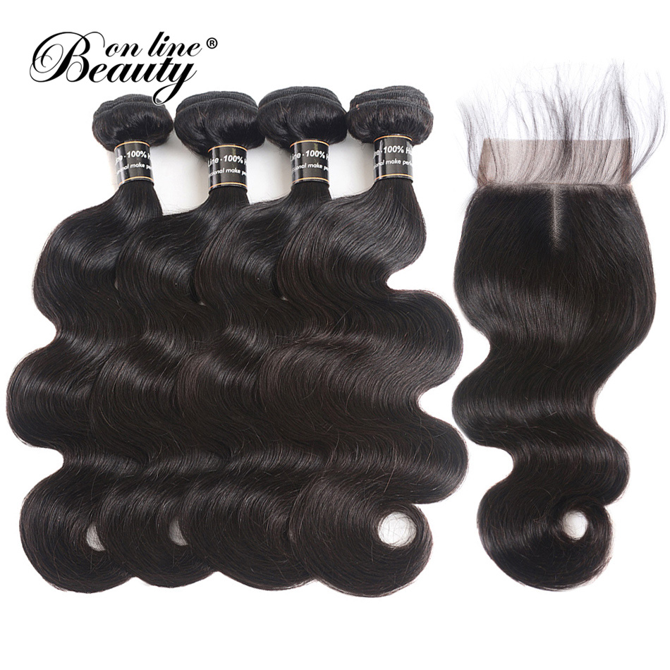 Body Wave 4 Bundles With Closure 100% Remy Human Hair Bundles Brazilian Hair With Closure Middle Part 5 Piece Lot Beauty On Line