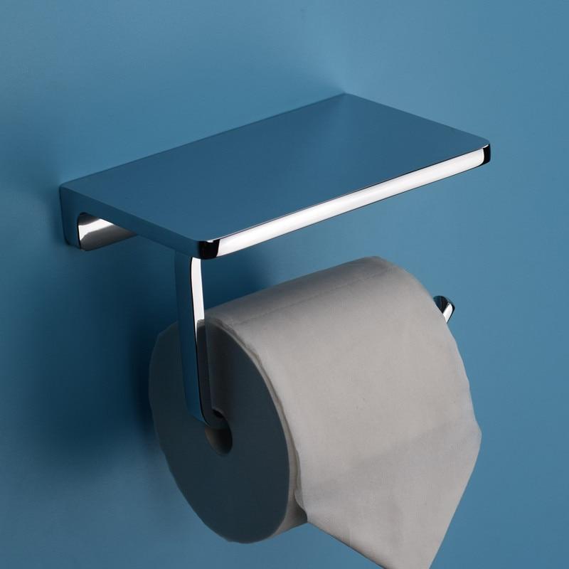 Image 4 - Zinc Alloy Plus Brass Bathroom Paper Holder And Shelf Bathroom Mobile Phone Towel Rack, Toilet Paper Holder Box Tissue Box.-in Paper Holders from Home Improvement