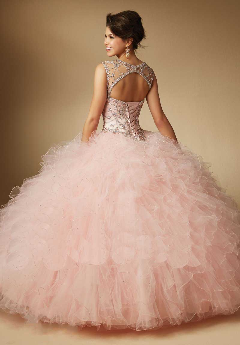 Scoop Top Sheer Open Back With Hole Beaded Coral Ball Gown ...