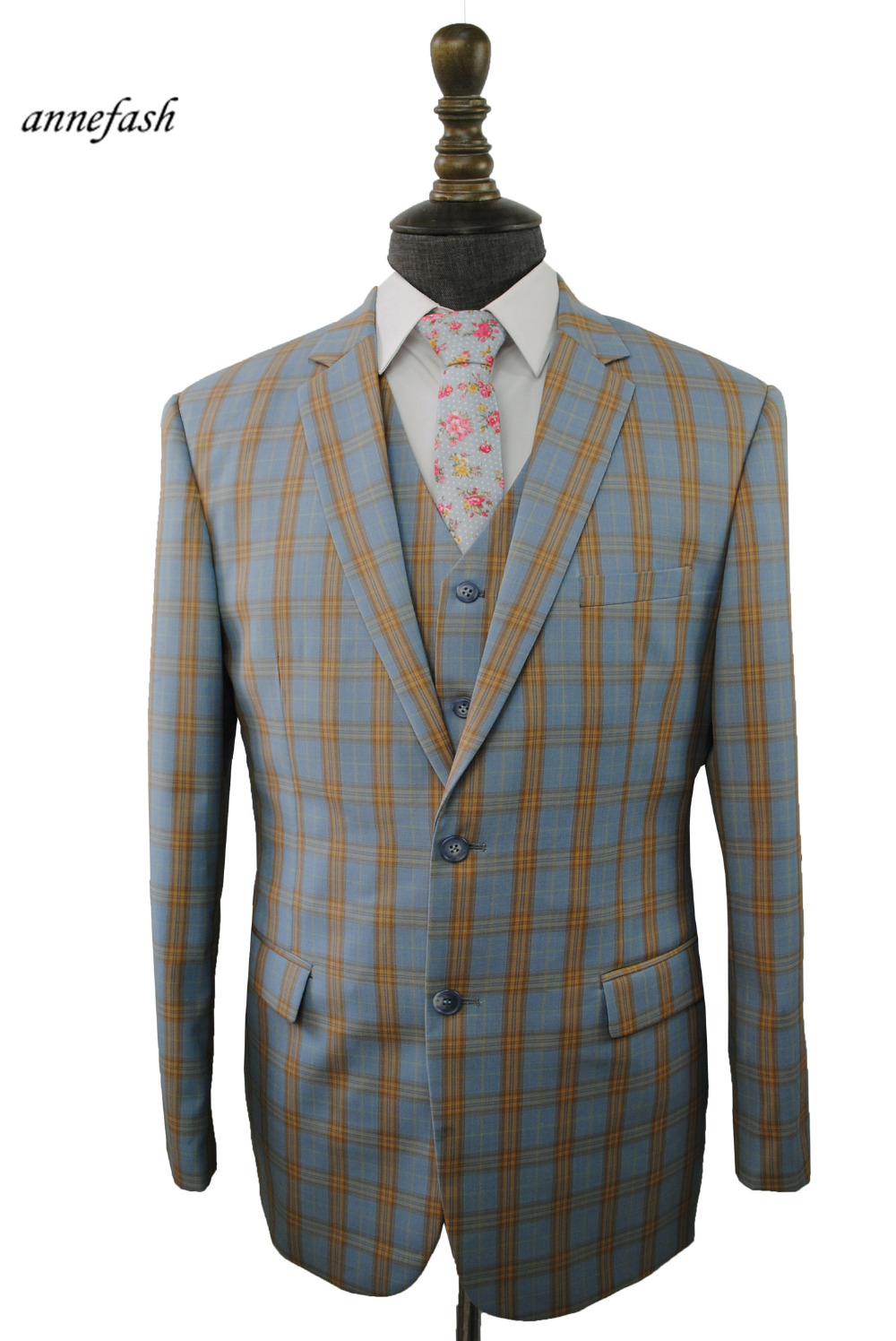 749419fa197859 Custom Made High Quality 150u0027s Worsted Pure Wool Light Blue Windowpane  Check Suit Men Slim Fit Suit(jacket+pants+vest) 22 Color-in Suits From  Menu0027s ...