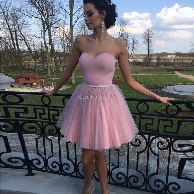 YNQNFS CD21 Pink Color Sweetheart Tutu Puffy Tulle Skirt Short Dress Prom Party