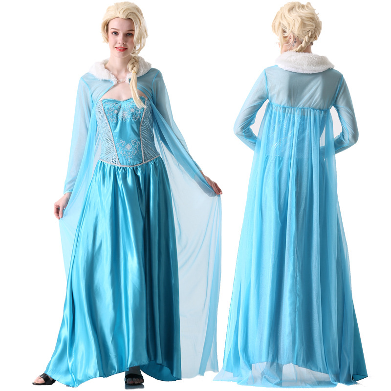 Halloween Women Elsa Costume Dress Queen Snow Princess Elsa blue dress with cape Stage Ball gown dress any size