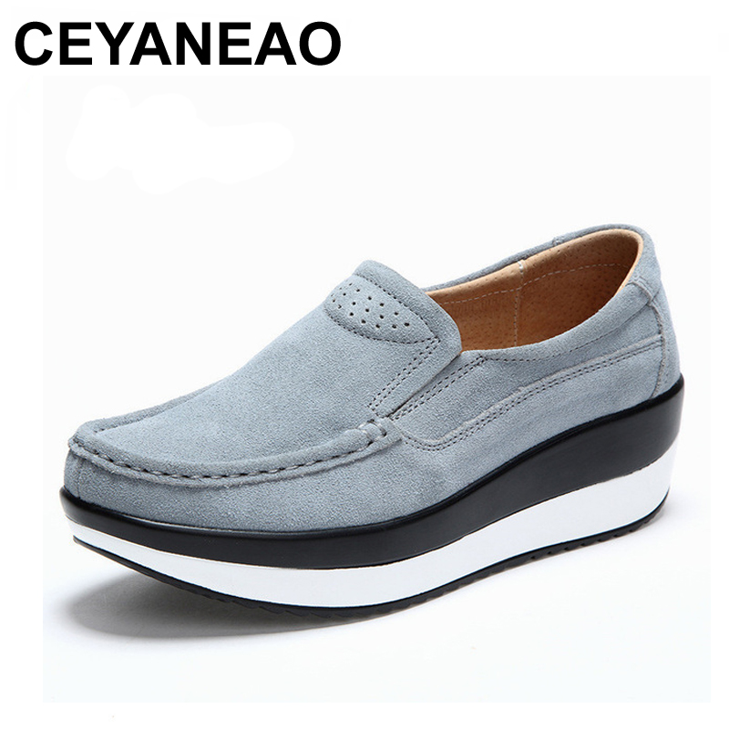 CEYANEAO 2018 Women's Shoes Cow   Suede     Leather   Flat Platform Woman Shoes Spring Autumn Women's Loafers Moccasins Female Shoe