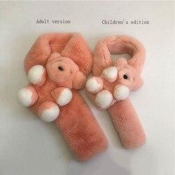 2019 Echt Rex Kaninchen Pelz Schal Herbst Und Winter Leder Haar Schal Natürliche Kaninchen Haar Eltern-kind Kind Version Bär schal