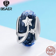 BISAER Hot Sale 925 Sterling Silver Sparkling Star European Murano Glass Beads Fit for Original Bracelets DIY Jewelry ECC861