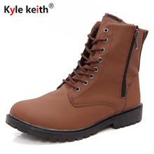 Kyle Keith Men Boots Comfortable Black Brown Winter Warm Waterproof Designer Side Zipper Mens Leather Ankle Boots