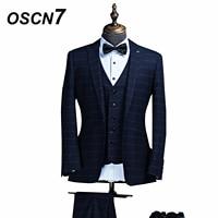 OSCN7 Plaid 3 Pcs Custom Made Suits Wedding Dress Dark Blue Tailor Made Suit Men Fashiong Business Mens Suits
