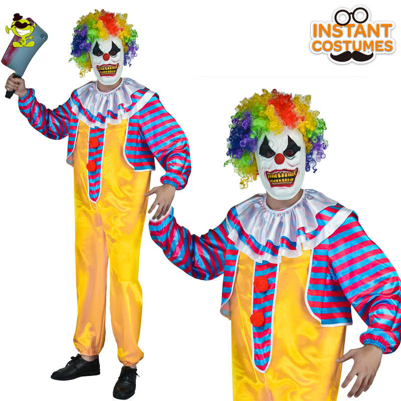 Deluxe Trajes Adultos Máscara Halloween Fancy Dress Mens Circo Palhaço Assassino Mais Horror Assustador Traje Para Cosplay Mal Masculino