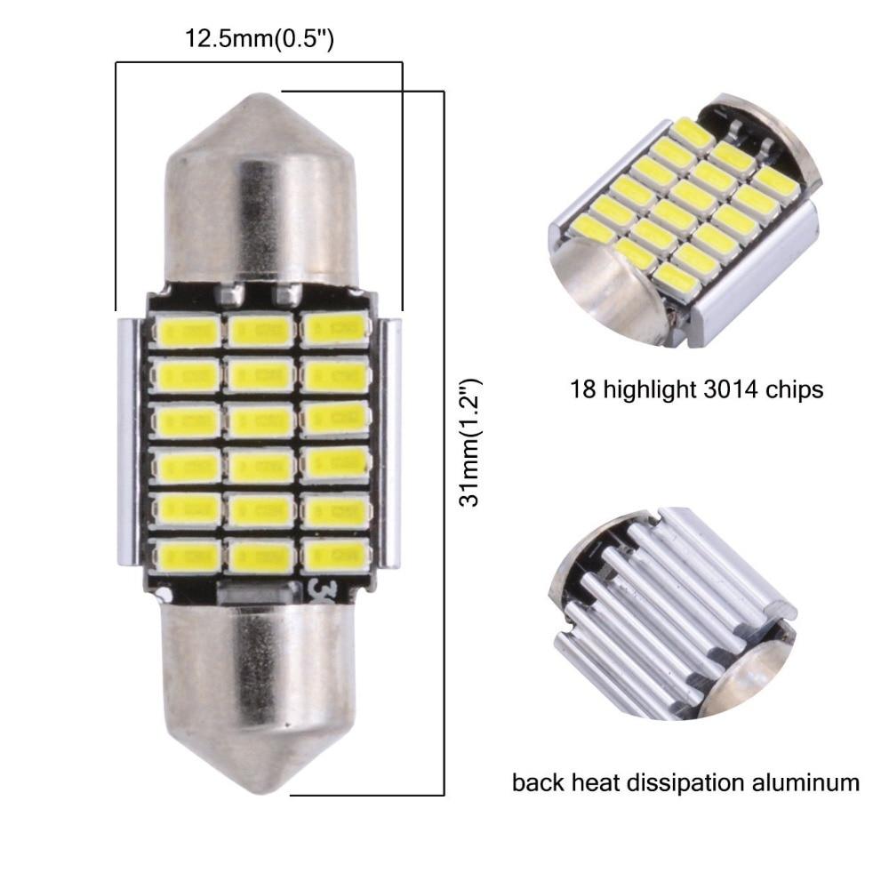 2 PCS C5W Interior Luzes Led 3014 18 27 30 33 smd 12 V Canbus Sem - Faróis do carro - Foto 2