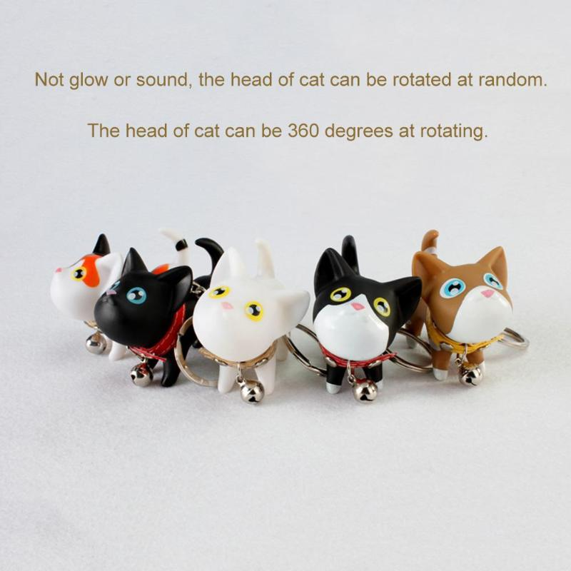 цены Cute Cartoon Cat Key Chains Shake Head Bell Cat Key Rings Car Phone Wallet Bag Pendant Couple Lover Unisex Keychains Accessories