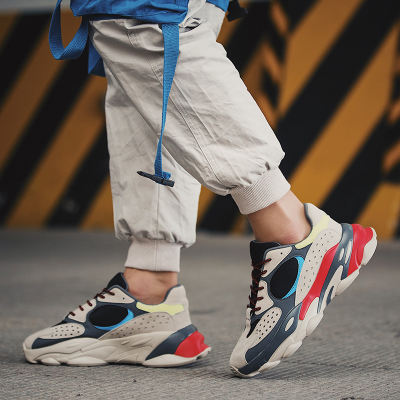 Trend Men Chunky Sneakers 2019 New Web Celebrity Dad Shoes Male Quality PU+Mesh Breathable Patchwork Men Casual Shoes 808m