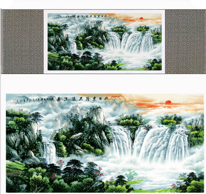 landscape art painting Mountain and River art painting top quality silk scroll painting