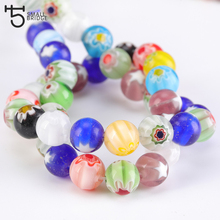 4/6/8MM Mixed Lampwork Glass Beads for jewelry making Diy Accessories Making bracelet Flower Pattern Ball Wholesale Q703