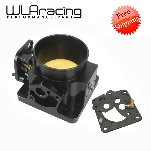 WLR RACING FREE SHIPPING BLACK 75MM BILLET CNC THROTTLE BODY FOR 86 93 FORD MUSTANG GT COBRA LX 5.0 WLR6958BK