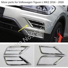 Copertura auto ABS Chrome anteriore della lampada testa della Luce di nebbia Trim telaio bastone 2 pcs Per Volkswagen VW Tiguan L TiguanL MK2 2016 2017 2018