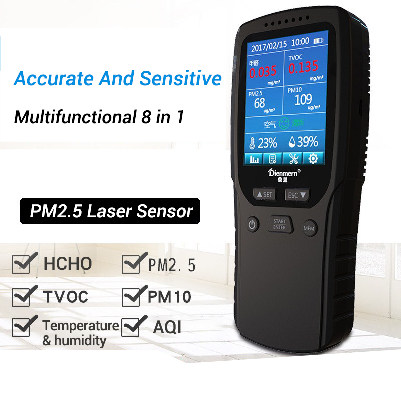 Formaldehyde Gas Analyzer HCHO PM1.0 PM2.5 PM10 TVOC Temperature humidity Meter Thermometer Hygrometer Gas Detector Monitor china hcho ch2o formaldehyde monitor environmental with temperature humidity